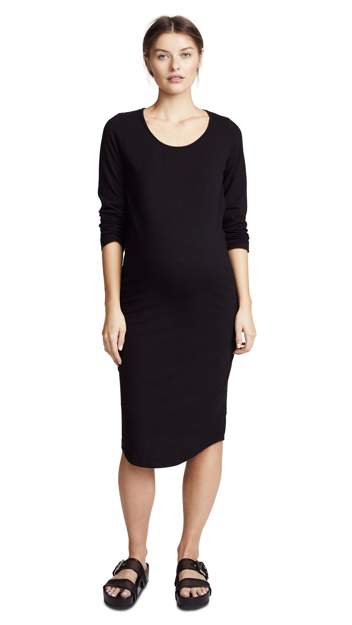 MONROW Maternity Long Sleeve Dress In Black