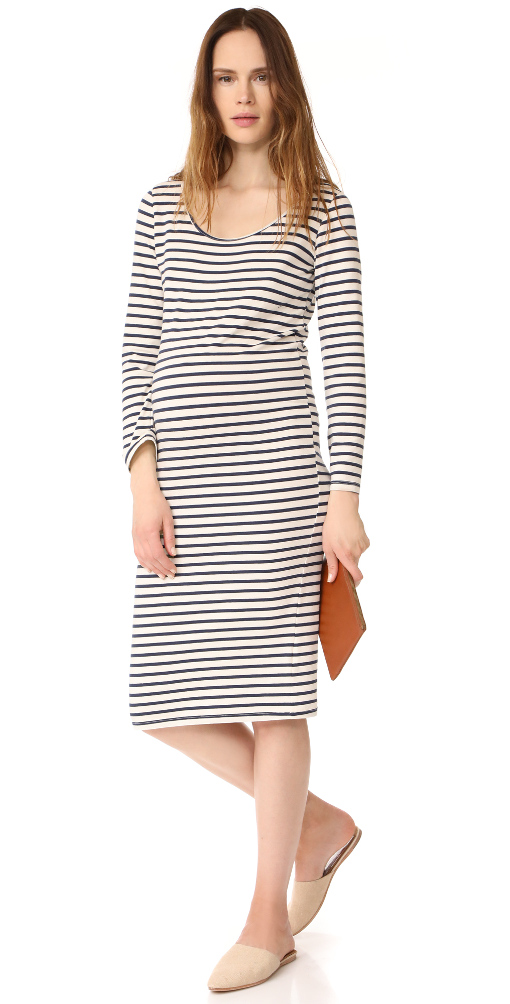 Monrow maternity stripe long sleeve dress shopbop monrow maternity stripe long sleeve dress ombrellifo Image collections
