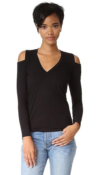 MONROW V Neck Rib Shirt In Black