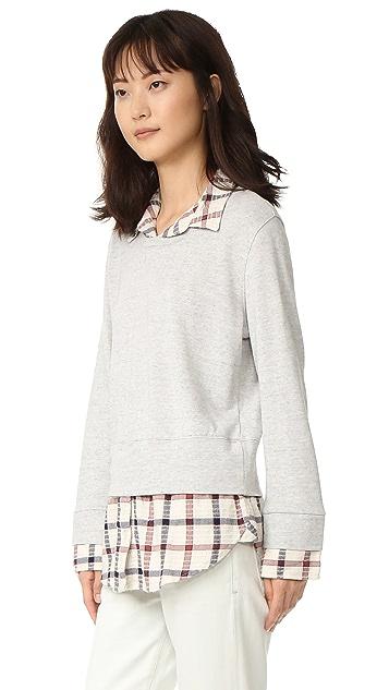 MONROW Double Layer Flannel Plaid Sweatshirt