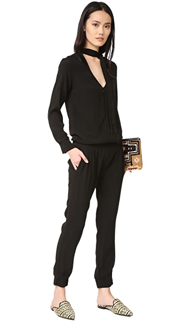 MONROW Tie Front Long Sleeve Jumpsuit