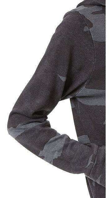 MONROW Oversized Camo Zip Up Hoodie