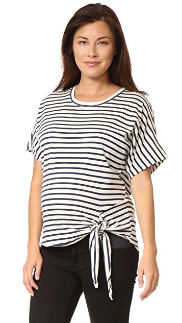 MONROW Maternity Striped Oversized Tee