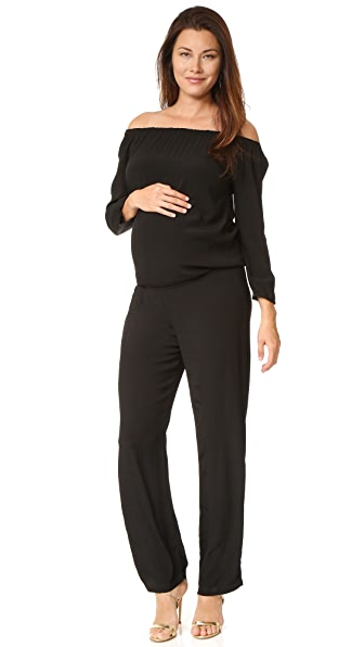 MONROW Maternity Off Shoulder Jumpsuit