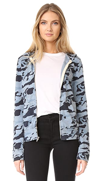 MONROW Zip Up Camo Hoodie - Dusty Blue