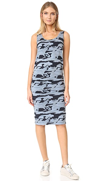 MONROW Shirred Camo Dress