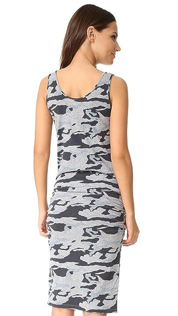 MONROW Granite Shirred Camo Dress