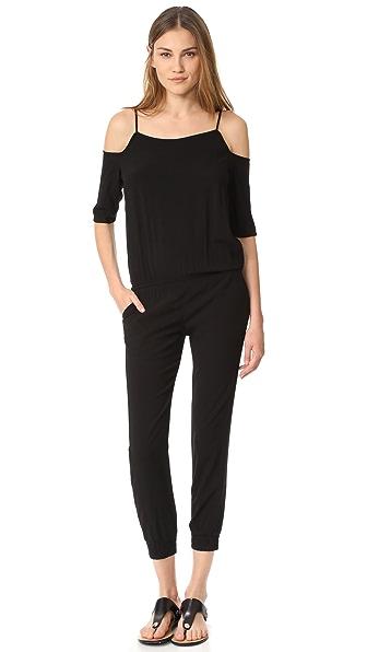 MONROW Cold Shoulder Jumpsuit In Black