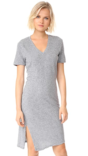 MONROW Oversized Knot Tee Dress - Granite