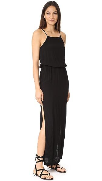MONROW Square Neck Maxi Dress In Black