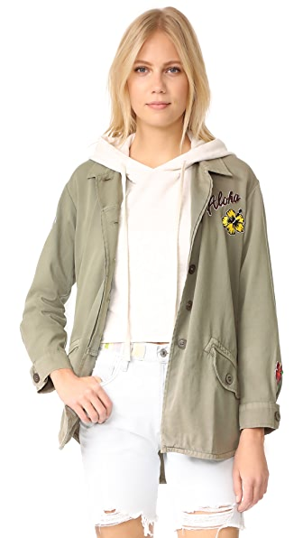 MONROW Vintage Shirt Jacket with Island Patches - Ash Green