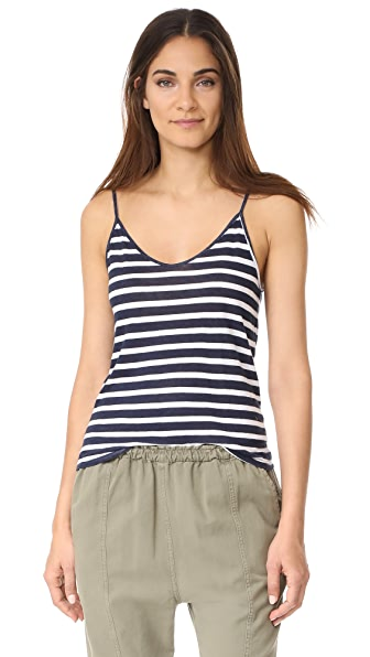 MONROW Spaghetti Tank In Natural/Navy