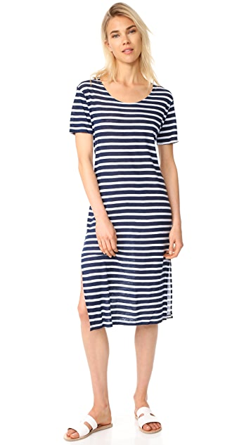 MONROW Stripe Scoop Neck Tee Dress