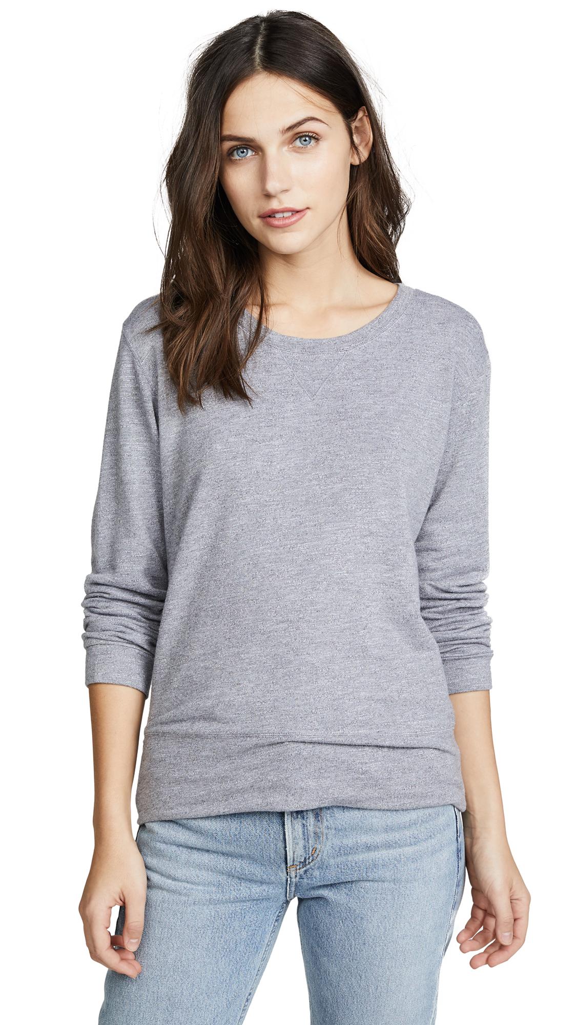 MONROW Crew Neck Sweatshirt In Dark Heather