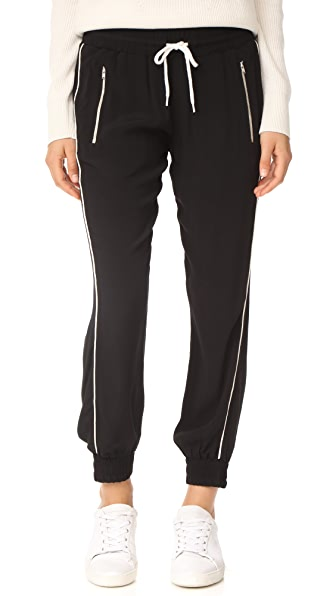 MONROW Track Pants with Elastic Waistband In Black