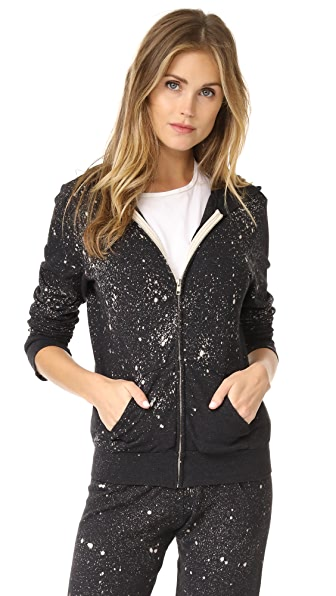 MONROW Splatter Tie Dye Zip Up Hoodie - Black