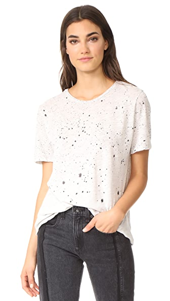 MONROW Splatter Tie Dye Oversize Crew Tee - Heather Grey
