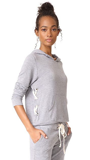 MONROW Side Lace Up Pullover Hoodie
