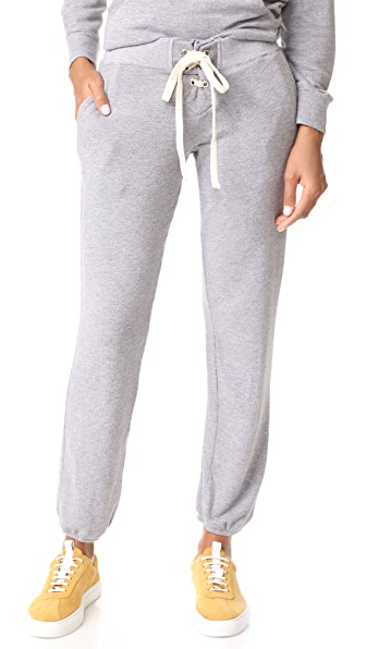MONROW Super Soft Lace Up Sweats - Dark Heather