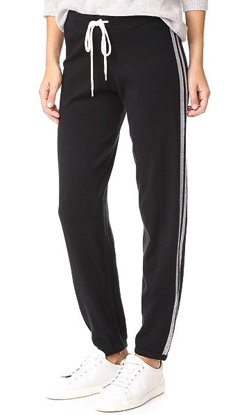 MONROW Grey Side Stripe Vintage Sweats - Black