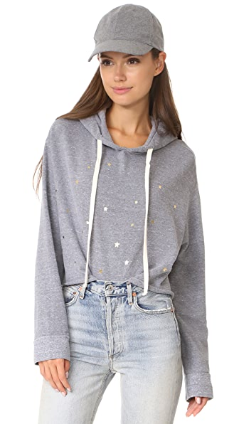 MONROW Oversized Cropped Hoody with Stardust - Dark Heather