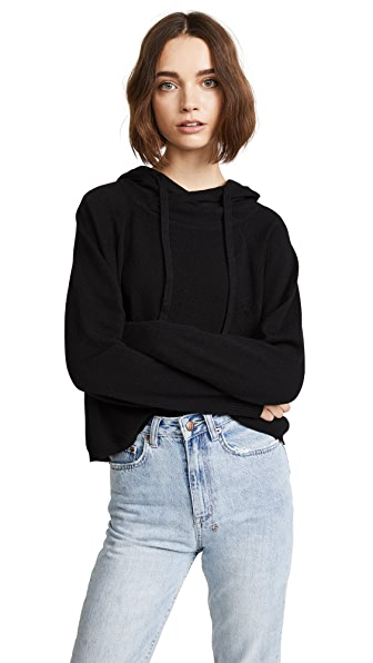 MONROW Cashmere Pullover Hoodie In Black