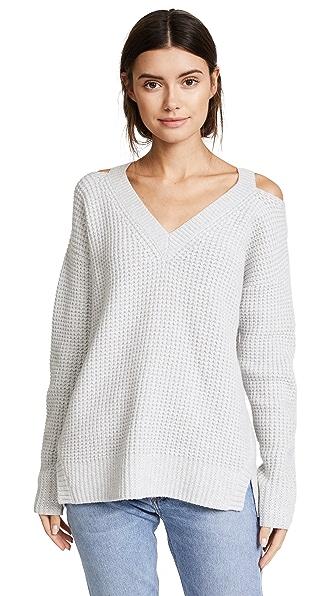 MONROW Slash Shoulder Sweater In Heather Grey