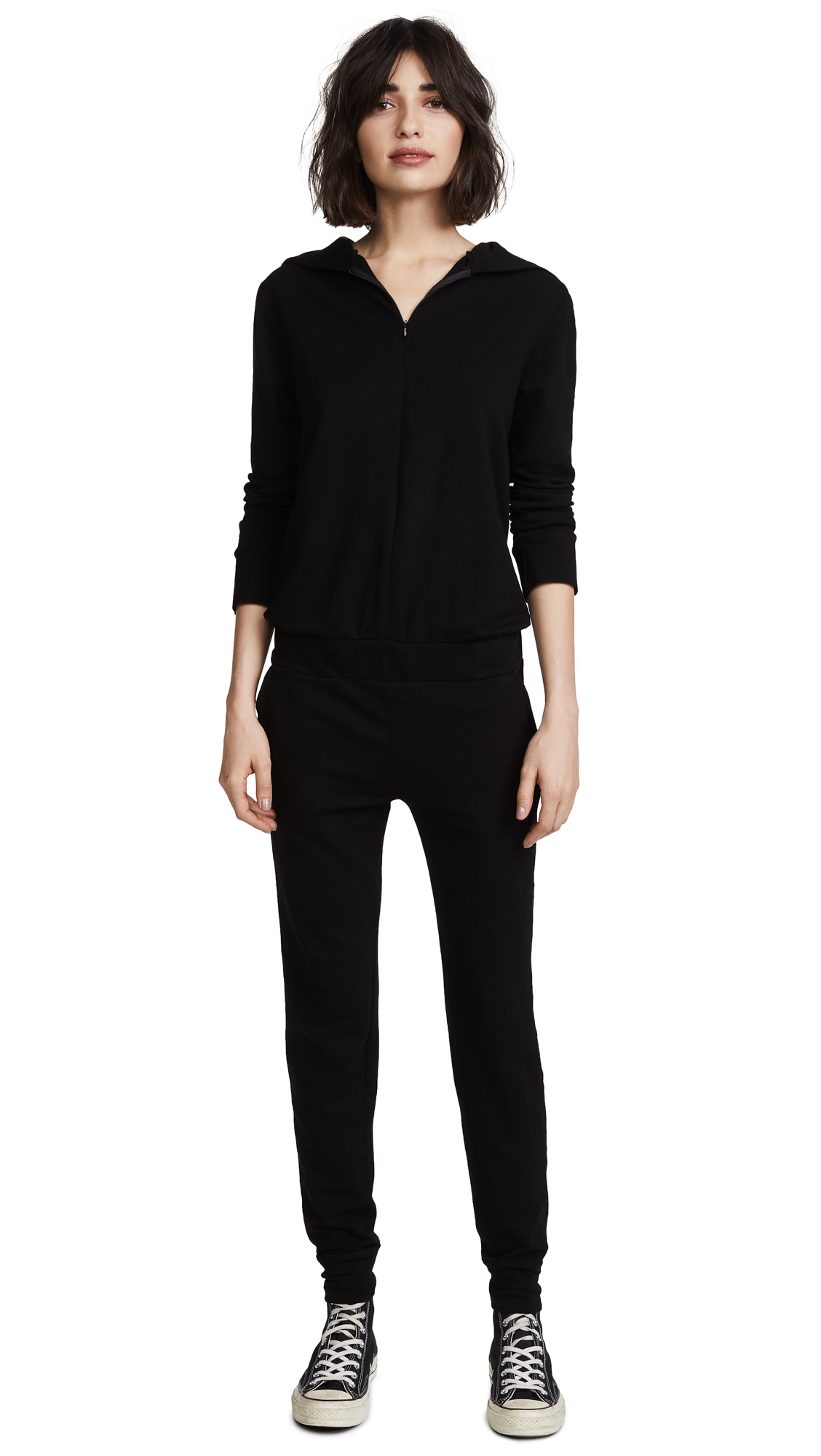 MONROW Supersoft Hoodie Jumpsuit In Black