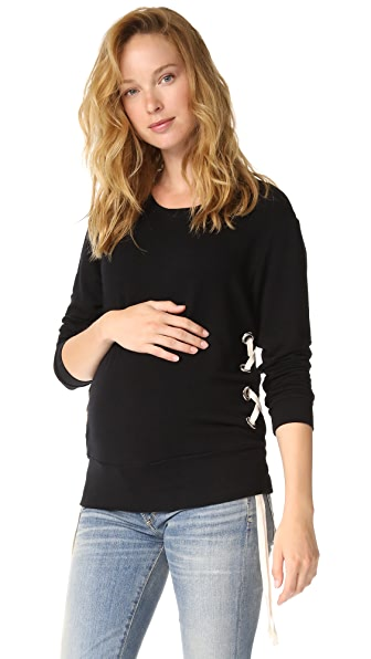 MONROW Maternity Lace Up Sweatshirt In Black