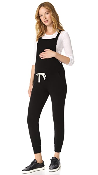 MONROW Maternity Drawstring Overalls In Black