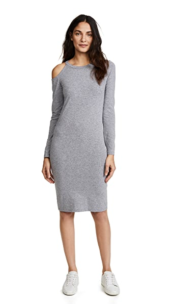 MONROW Cutout Shoulder Dress In Granite