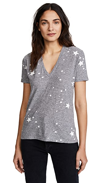 MONROW Relaxed V Neck with Printed Star Dust In Granite