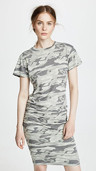 CAMO SHIRRED DRESS