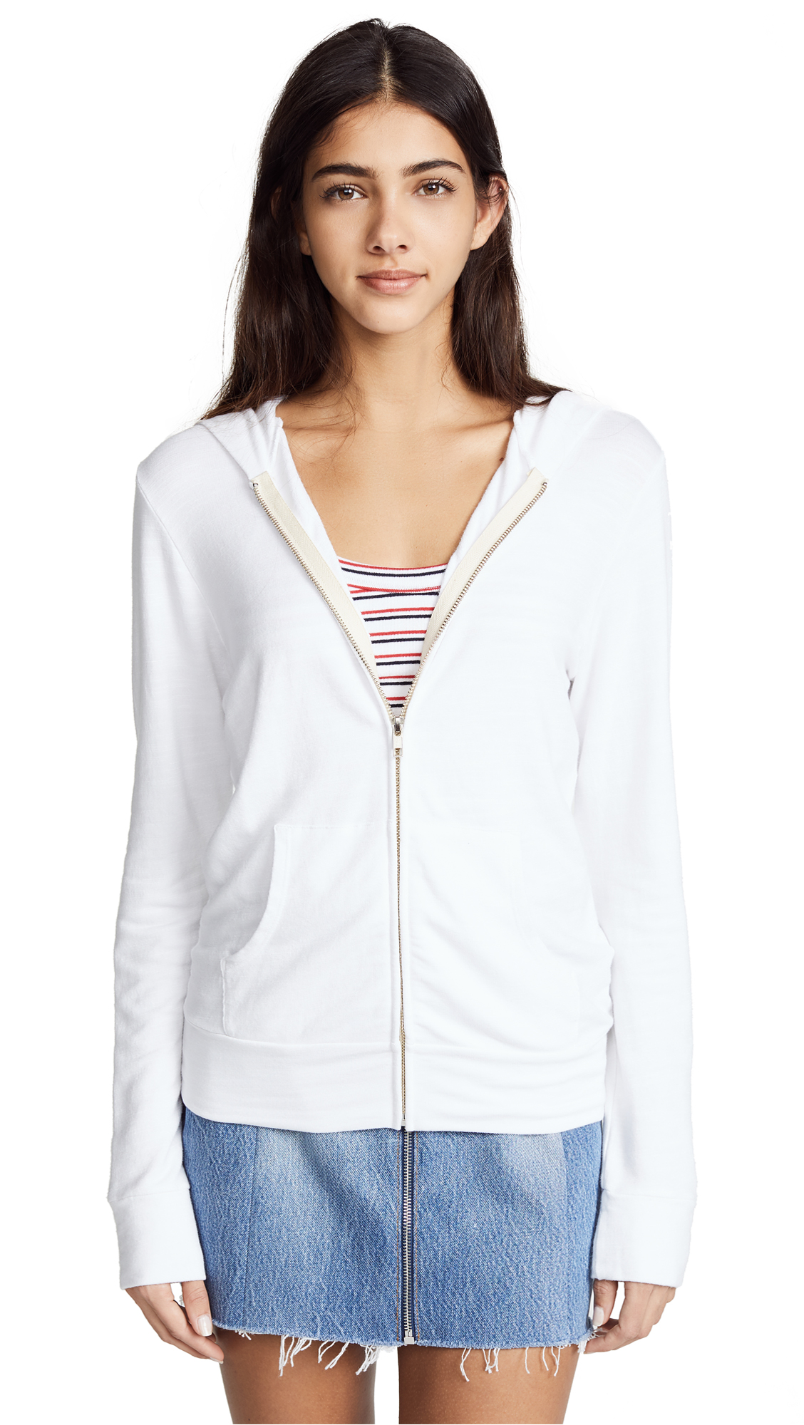 MONROW Zip Up Hoodie In White