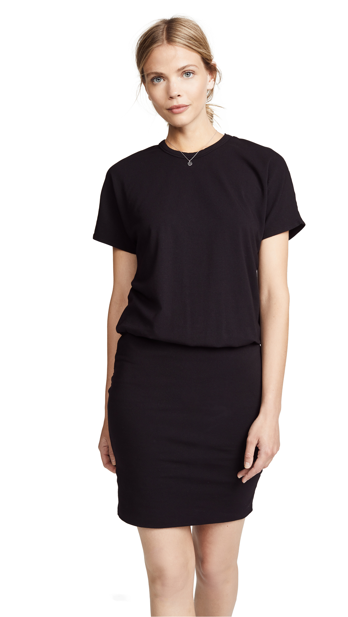 MONROW Drop Shoulder Dress In Black