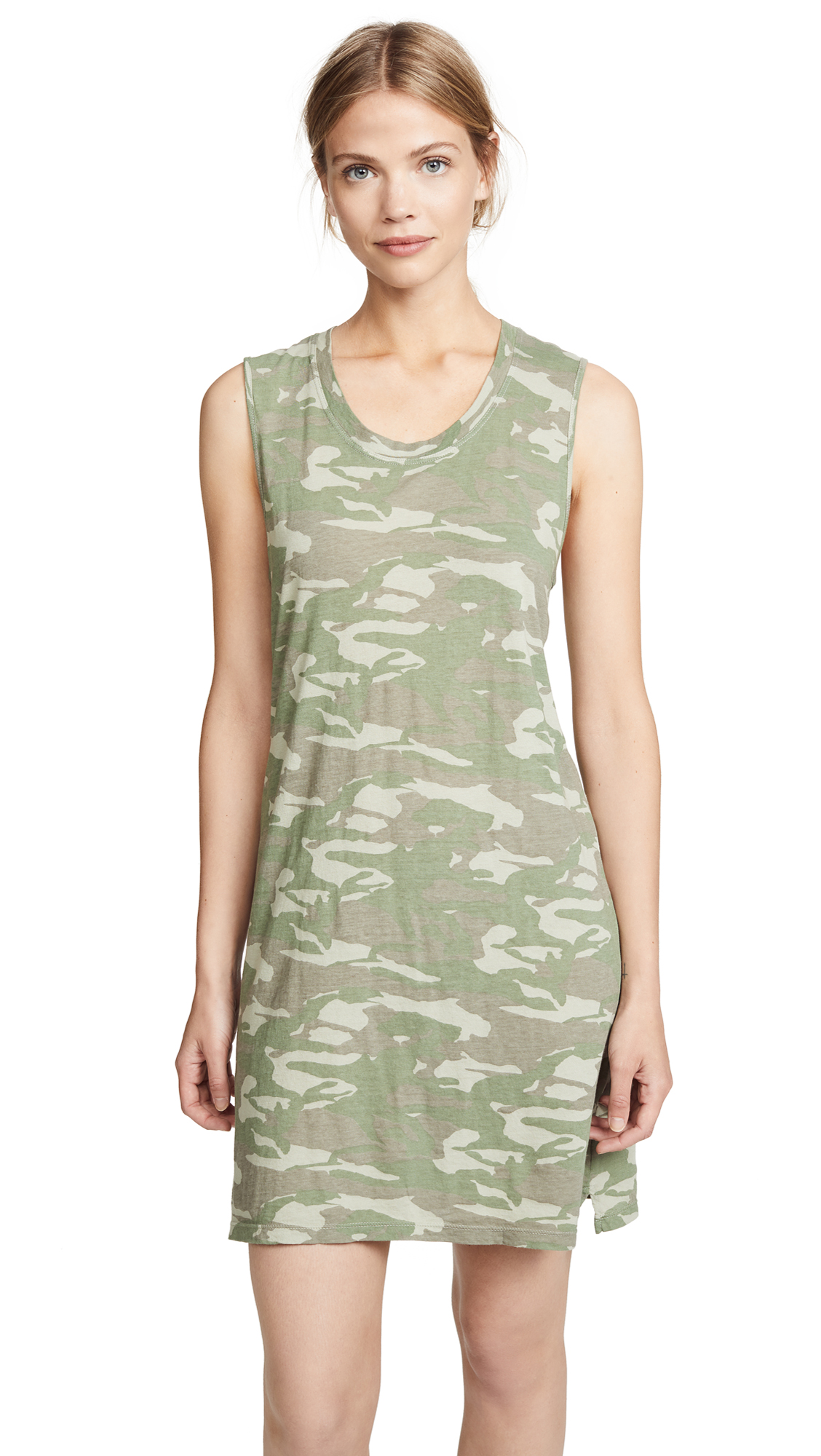 MONROW Tonal Camo Tank Dress In Light Olive