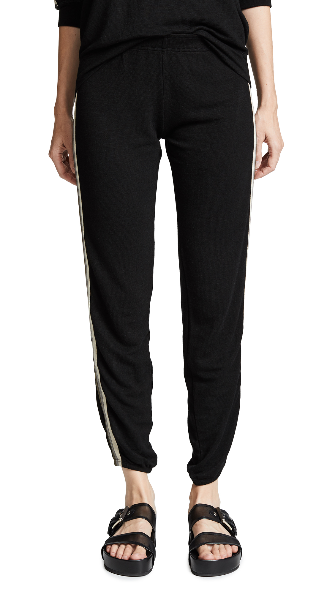 Supersoft Elastic Waist Sweats With Neutral Stripes in Black