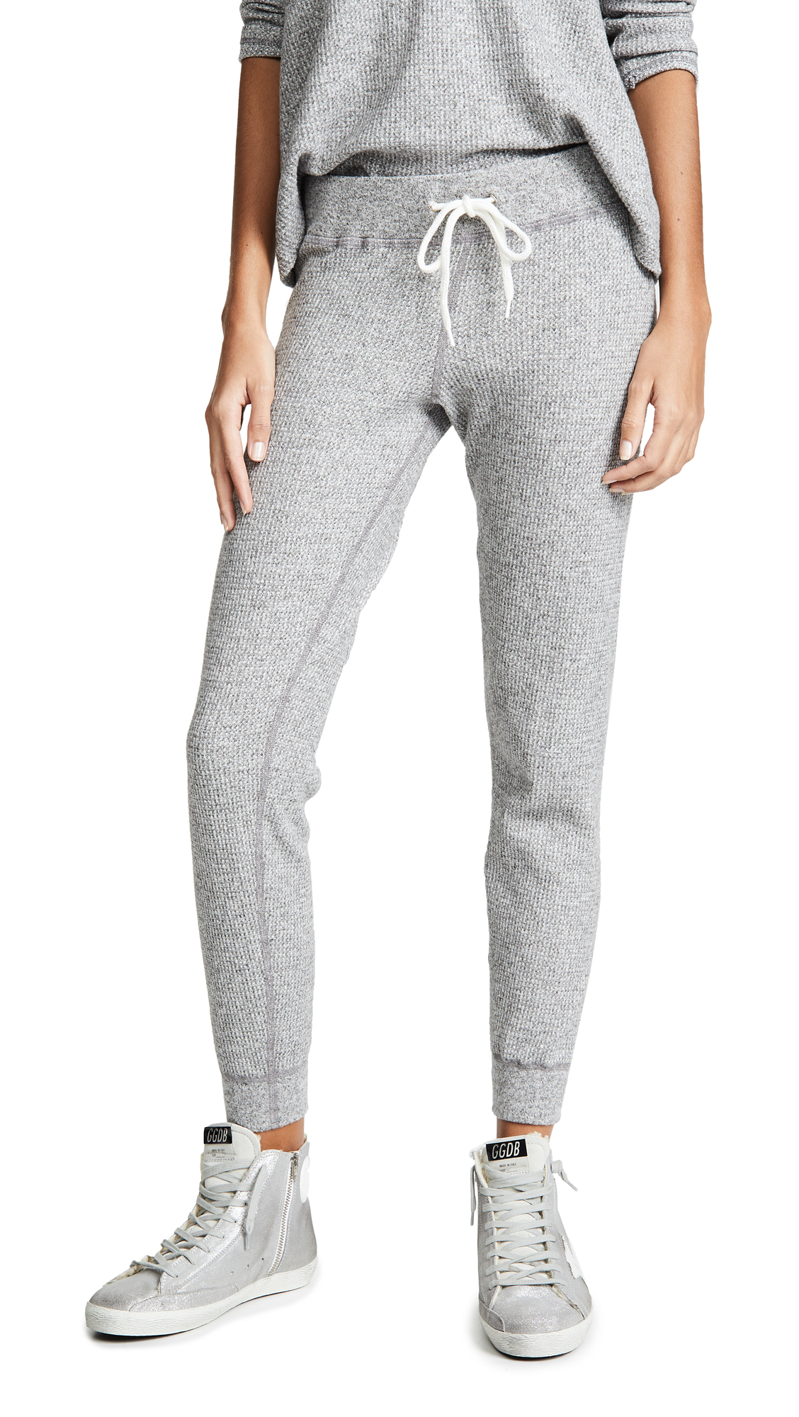 MONROW Thermal Cuff Sweatpants In Dark Heather
