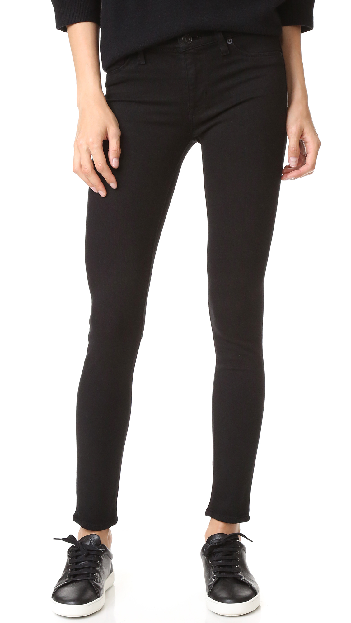 Hudson Nico Midrise Super Skinny Jeans - Black at Shopbop