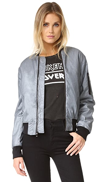 Hudson Gene Puffy Bomber Jacket - Dusted Silver