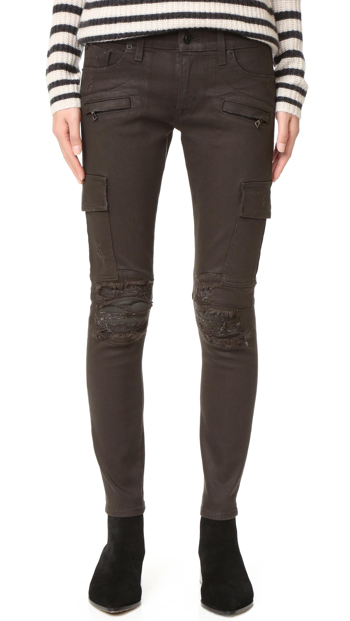 Hudson Colby Moto Skinny Jeans - Militant Green Destructed at Shopbop