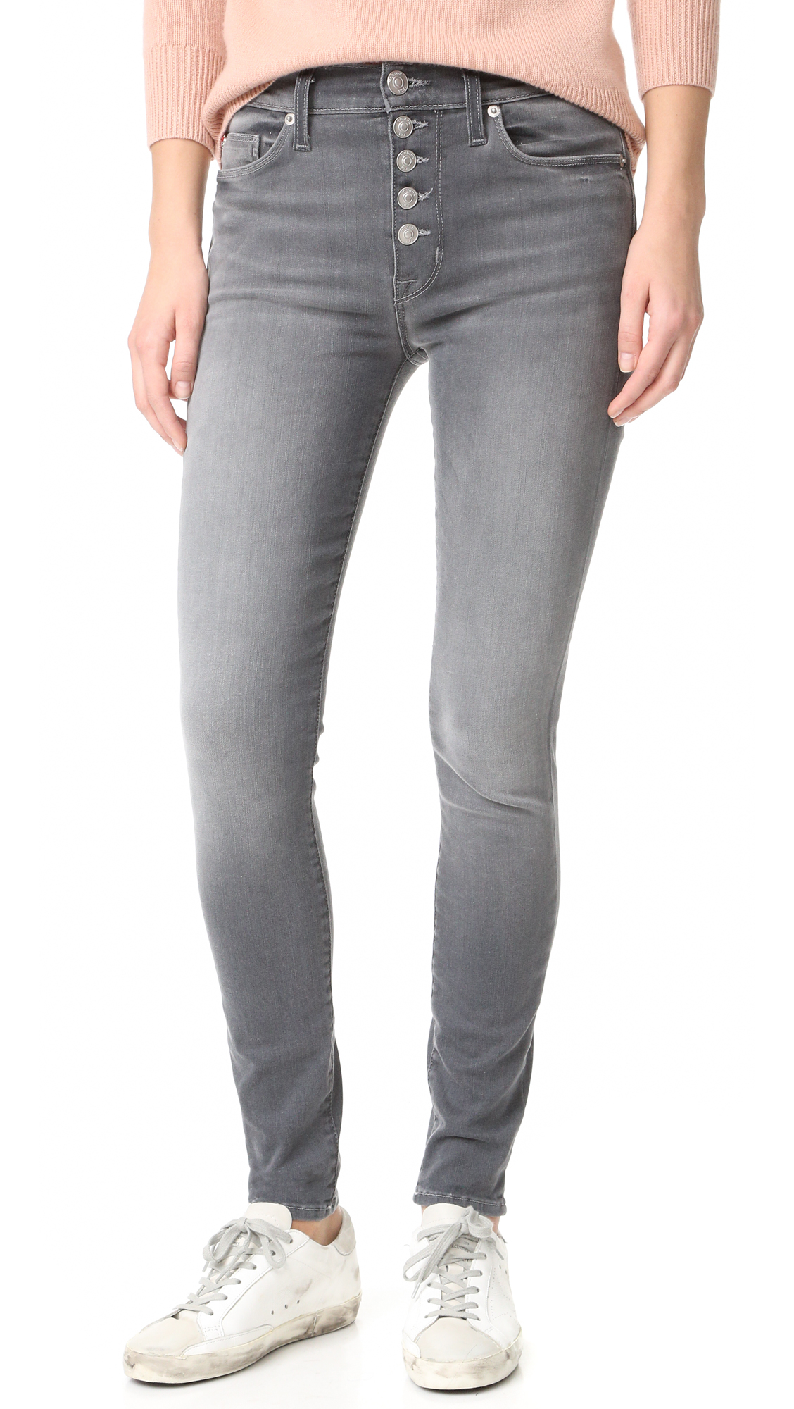 Hudson Ciara High Rise Exposed Button Jeans - Face Off at Shopbop