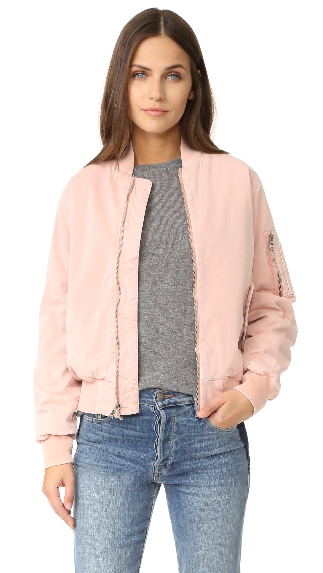 Hudson Gene Puffy Bomber - Sunkissed Pink Destructed at Shopbop