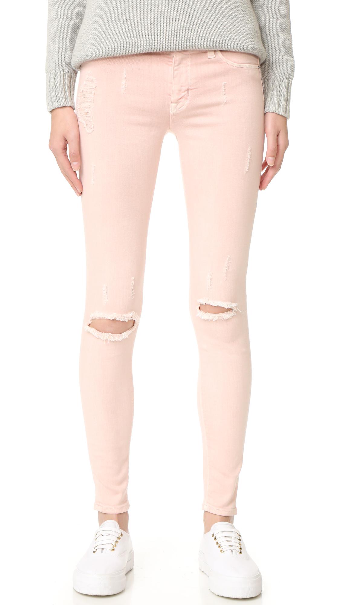 Hudson Nico Mid Rise Super Skinny Jeans - Sunkissed Pink Destructed at Shopbop
