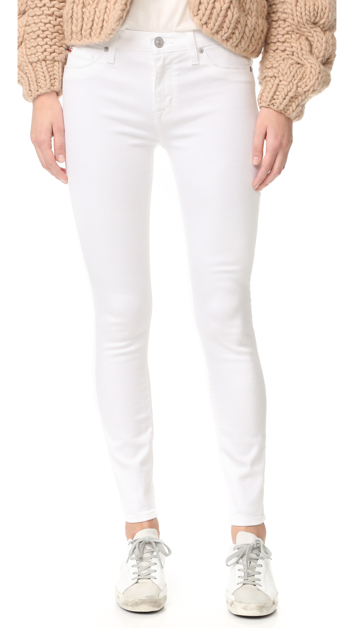 Hudson Nico Mid Rise Super Skinny Ankle Jeans - White at Shopbop