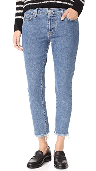 Hudson Riley Luxe Crop Jeans with Raw Hem