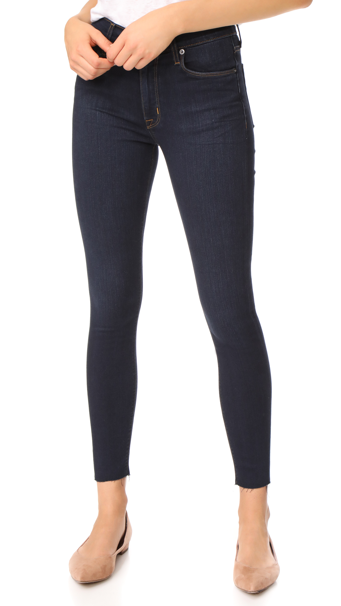 Barbara High Waist Super Skinny Jeans with Raw Hem