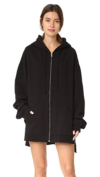 Hudson Oversized Zip Up Hoodie Dress - Black