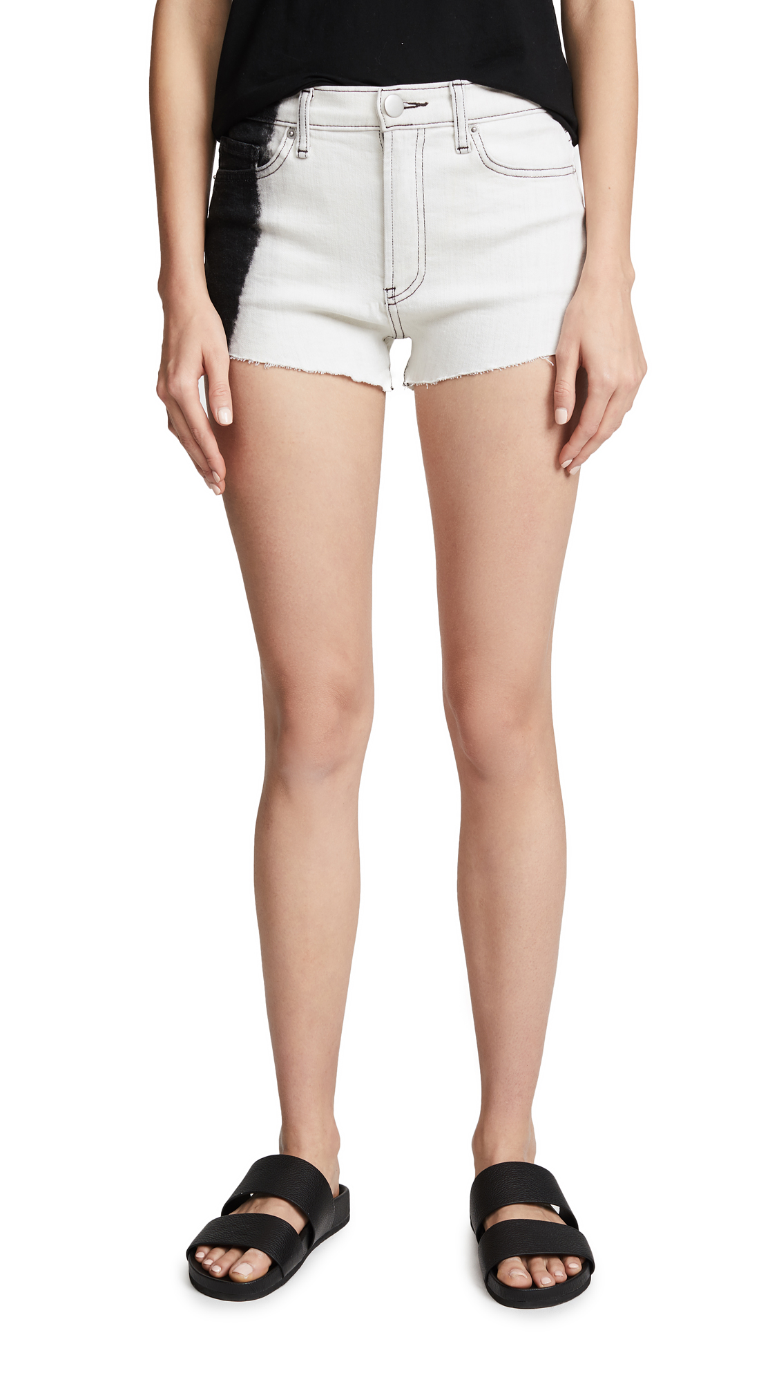 Hudson x Baja East Zooey High Rise Shorts In Black/White