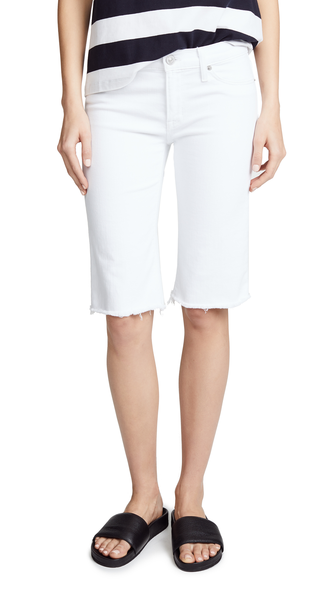 Hudson Amelia Cutoff Knee Shorts In Optical White